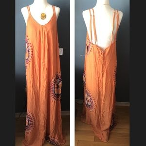 sample O'Neill coral patterned sun maxi dress NWT
